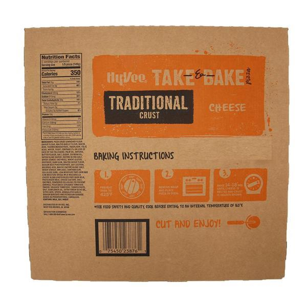Hy-Vee Take & Bake Cheese Medium Traditional Crust Pizza
