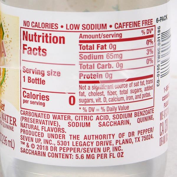 nutritional info tonic water diet